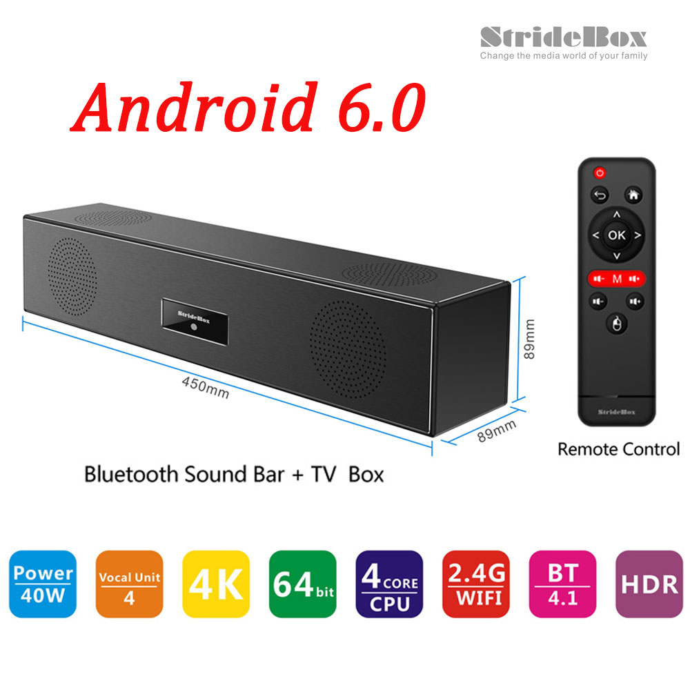 StrideBox Z1 Bluetooth Sound Bar + Android TV Box S905X Speaker Quad