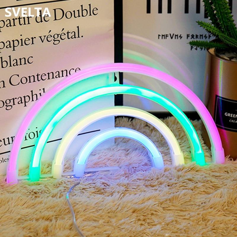 все цены на SVELTA Cat Love Cactus Flamingo Unicorn Rainbow Neon Light LED Bulb USB Battery Operated Wall Table Lamp Night Lights Decoration
