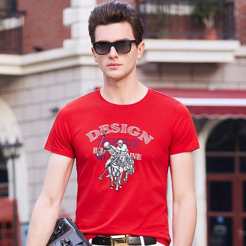 T-Shirt Men 2018 Spring Summer New Shor tSleeve Round Collar T Shirt Men Brand jacquard cut flowers Tee Shirts