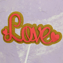 Love Cake Topper Flags Cupcake Toppers Bride Kids Birthday Wedding Valentine Wrapper Party Baking DIY Flag Baby Shower