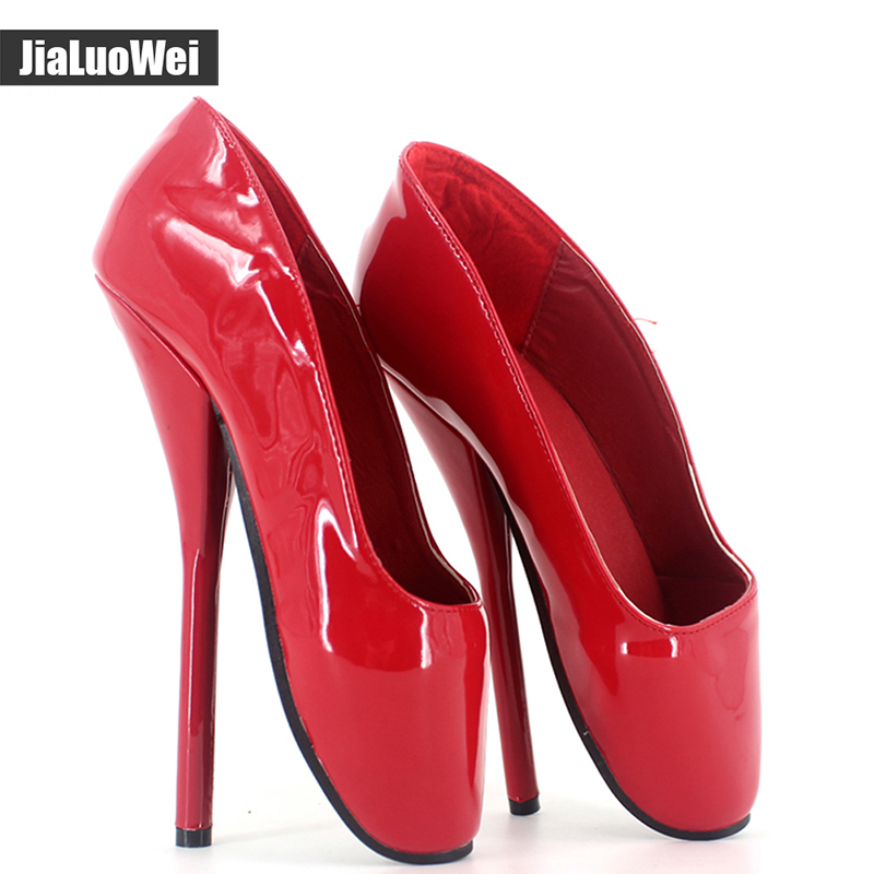 jialuowei Women Pumps Sexy Queen Patent Leather Ballet 18cm Thin Heels High-heeled Shoes Woman Pointed Toe Dance Party Shoes taoffen women high heels shoes women thin heeled pumps round toe shoes women platform weeding party sexy footwear size 34 39