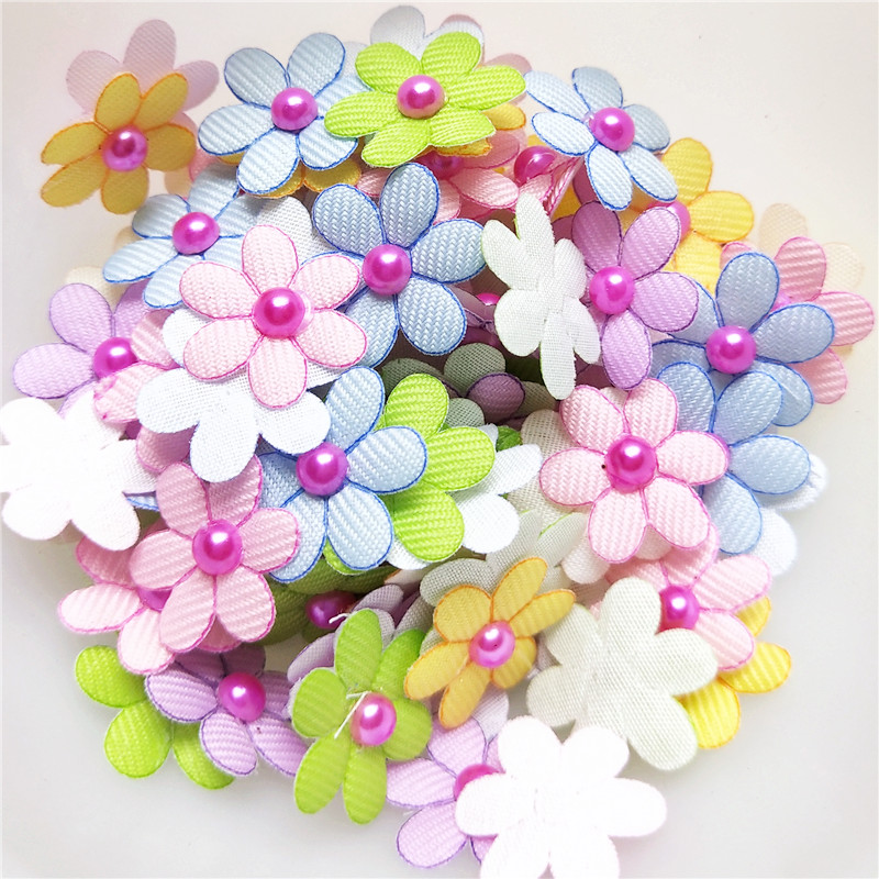 Padded Felt Flower appliques x 100 Mix-Hair//Bow//Cards