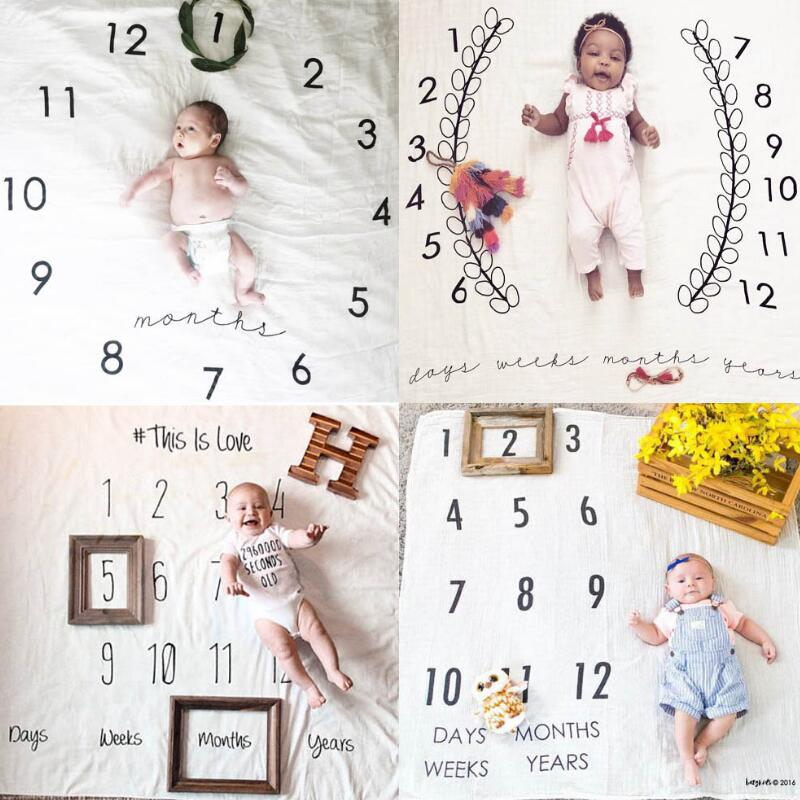 Newborns 100% Cotton Growth Record Infancy Swaddle Printing Quilt Super Soft Baby Blankets Babies Photo Background Blankets