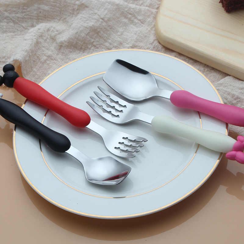 2 ชิ้น/เซ็ตเด็กชุดอาหารเด็กภาชนะการ์ตูนรูปร่างเด็กวัยหัดเดินทารกอาหารช้อนส้อมอาหารเย็นเด็ก NBB0032