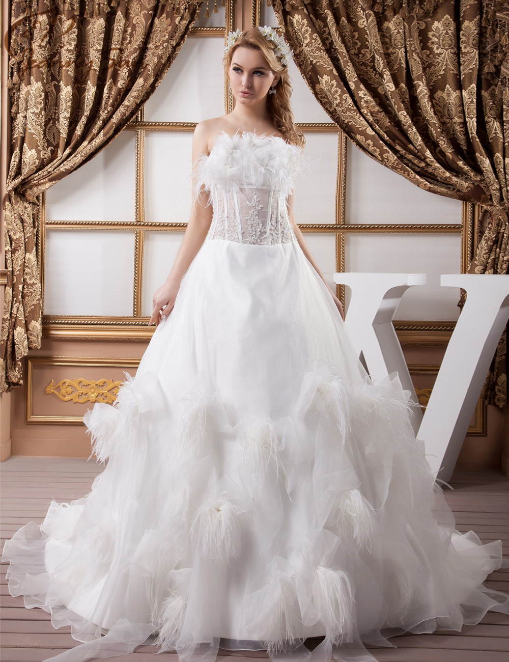 Jeanny Sun Feather Wedding Dresses Winter Ball Gowns Church Wedding ...