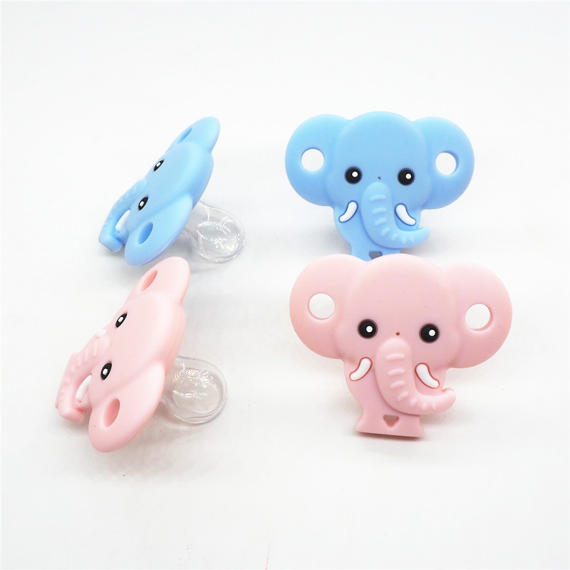Chenkai 10PCS BPA Free Silicone Elephant Pacifier Dummy Teether DIY Newborn Infant Baby Nursing Jewelry Animal Toy Craft