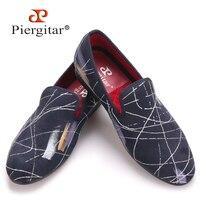 Piergitar Luxury Handmade Ink Painting Style Men Casual Shoes Men Plus Size Loafers Men S Flats