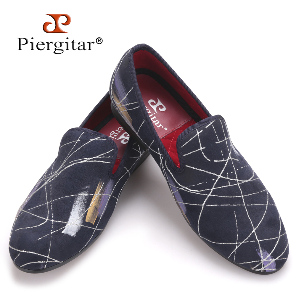 Piergitar Luxury Handmade oil painting style Men casual shoes Men party and Prom Plus Size Loafers Men's Flats Size US 4-17 new five colors men special hemp handmade shoes men plus size slip on party and prom loafers fashion men flats size 4 17