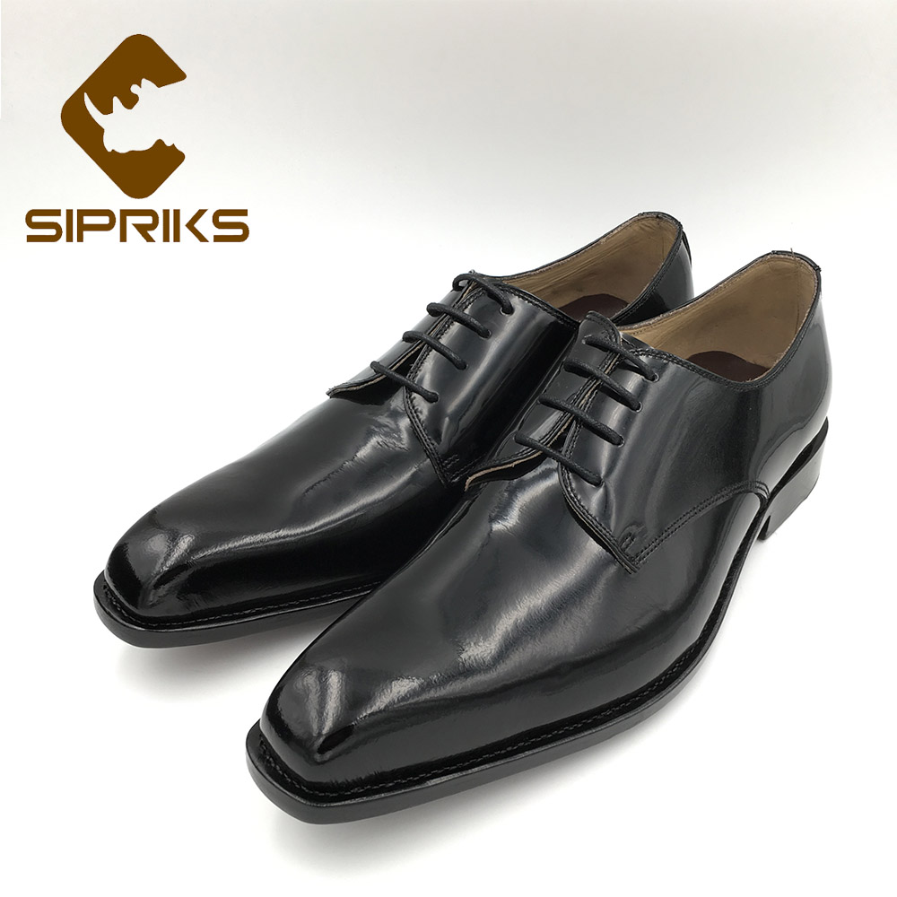 Sipriks MenS Patent Leather Black Dress Shoes Italian Handmade Goodyear Welted Shoes Sewing Leather Sole Shiny Shoes European