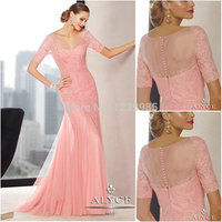 YM004 In Fashion Sexy V Neck Short Sleeves Pink Elegant Formal Evening Dress 2018 Mother of Bride Dress Woman Long Prom Dress
