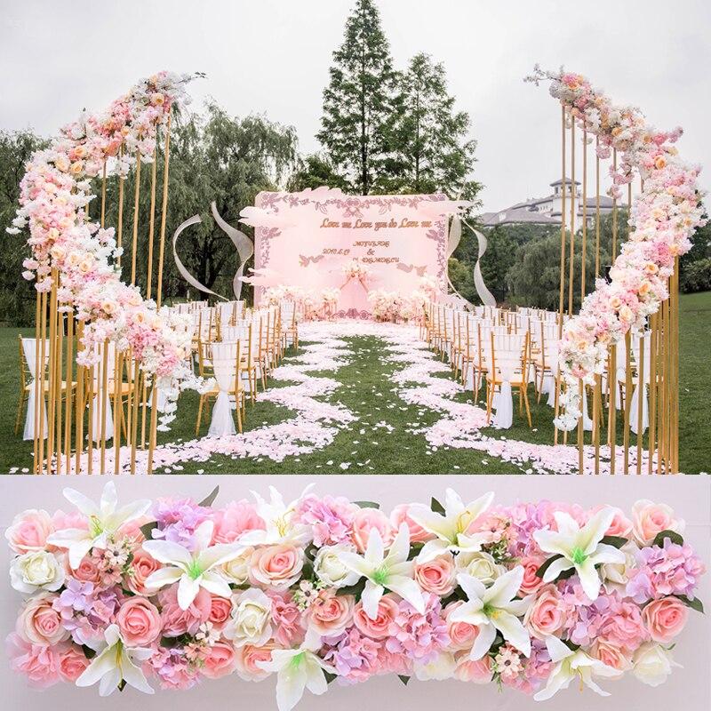 1 M mariage luxe route cité fleurs artificielles Rose lys hortensia bricolage porte arquée fleur rangée T Station noël mur personnalisé