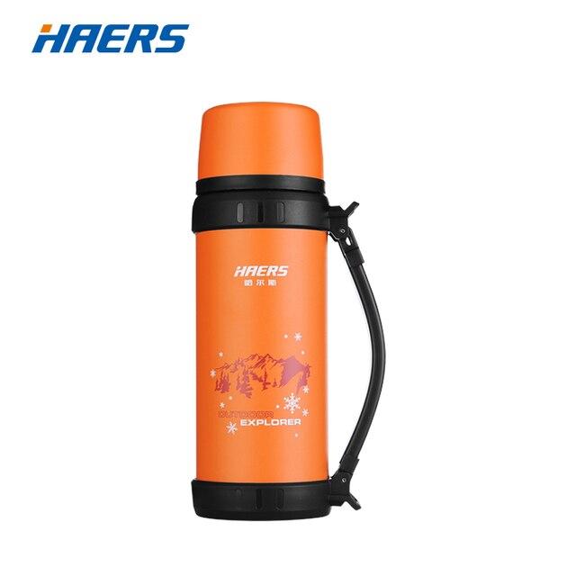 Фирменный термос Haers 1.1L, нержавеющая сталь. Спортивная бутылка для питьевой воды с ручкой