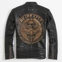 2018 Black Men Slim Fit Skulls Design Biker's Leather Jacket Plus Size XXXL Genuine Cowhide Short Motorcycle Coat FREE SHIPPING