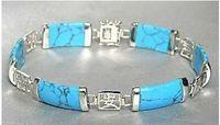 Gerçek doğal boncuk Ucuz bilezikler> Çarpıcı gümüş Moda Mücevher taş mücevher Tibet Gümüş Bilezik 7.5