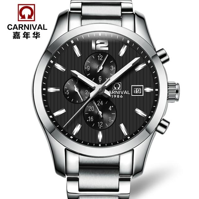 b0ad287fb61 Carnaval marca militar mecânico automático mens watch relógios de luxo  relogio relógios de aço cheio de