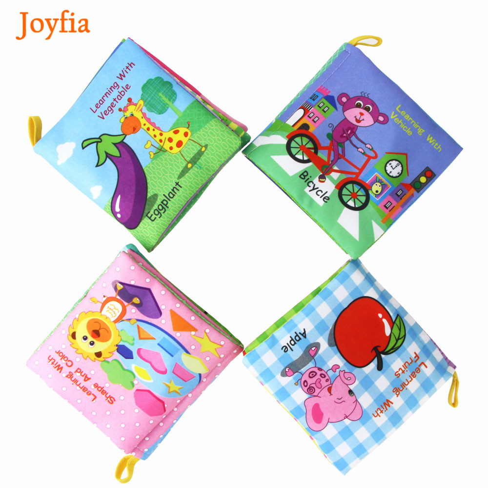 Colorful Cartoon Baby Cloth Book Rustle Sound Infant Toys Car Vegetable Fruit Soft Cloth Books Cognition Learning Book For Kids>