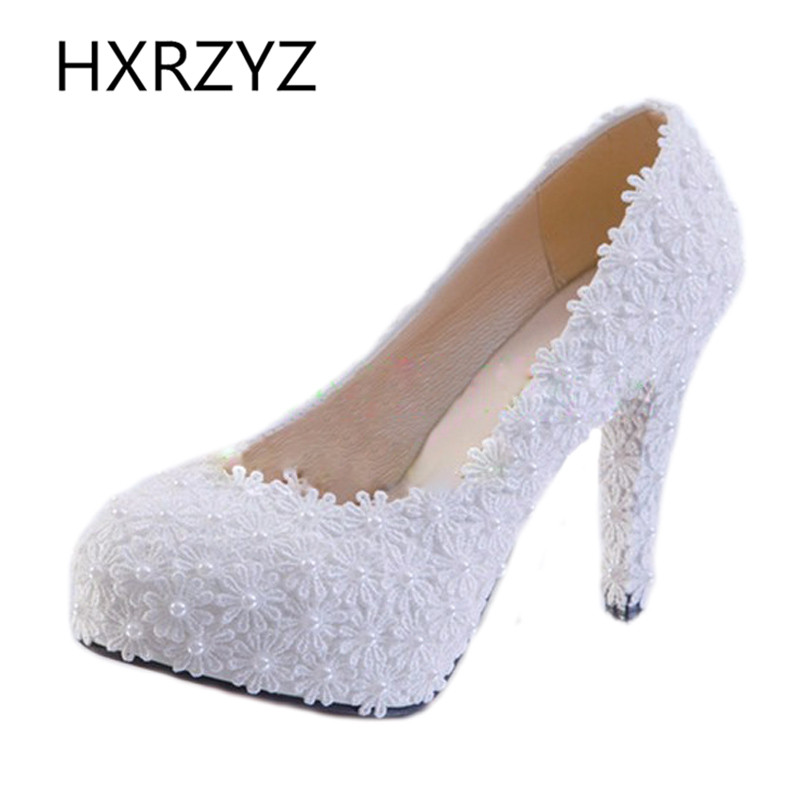 Women shoes handmade White Pearl Lace Flowers Wedding Shoes Women High Heel Single Shoes Fashion sexy
