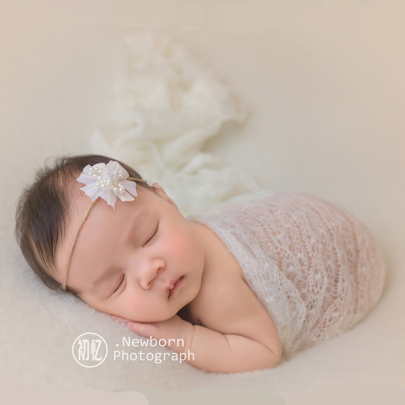 Newborn Baby Boys Mohair Wrap Cocoon Swaddle Photography Props Headband