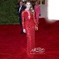 Красной ковровой дорожке платья 2015 нью-платья знаменитостей с длинным рукавом красный длинные вечерние платья рук-вышитый бисером формальные платья пром ну вечеринку платья
