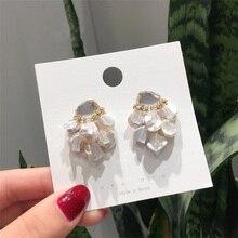 MENGJIQIAO 2019 Japón barroco coreano hecho a mano perla de agua dulce pendientes para mujeres joyas de cristal brillante moda Oorbellen