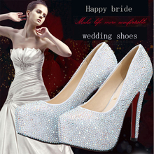 2016 Women Shoes Waterproof High Heels Zapatos Mujer Female White Diamond White Wedding Shoes Bridal Red Bottom High Heels