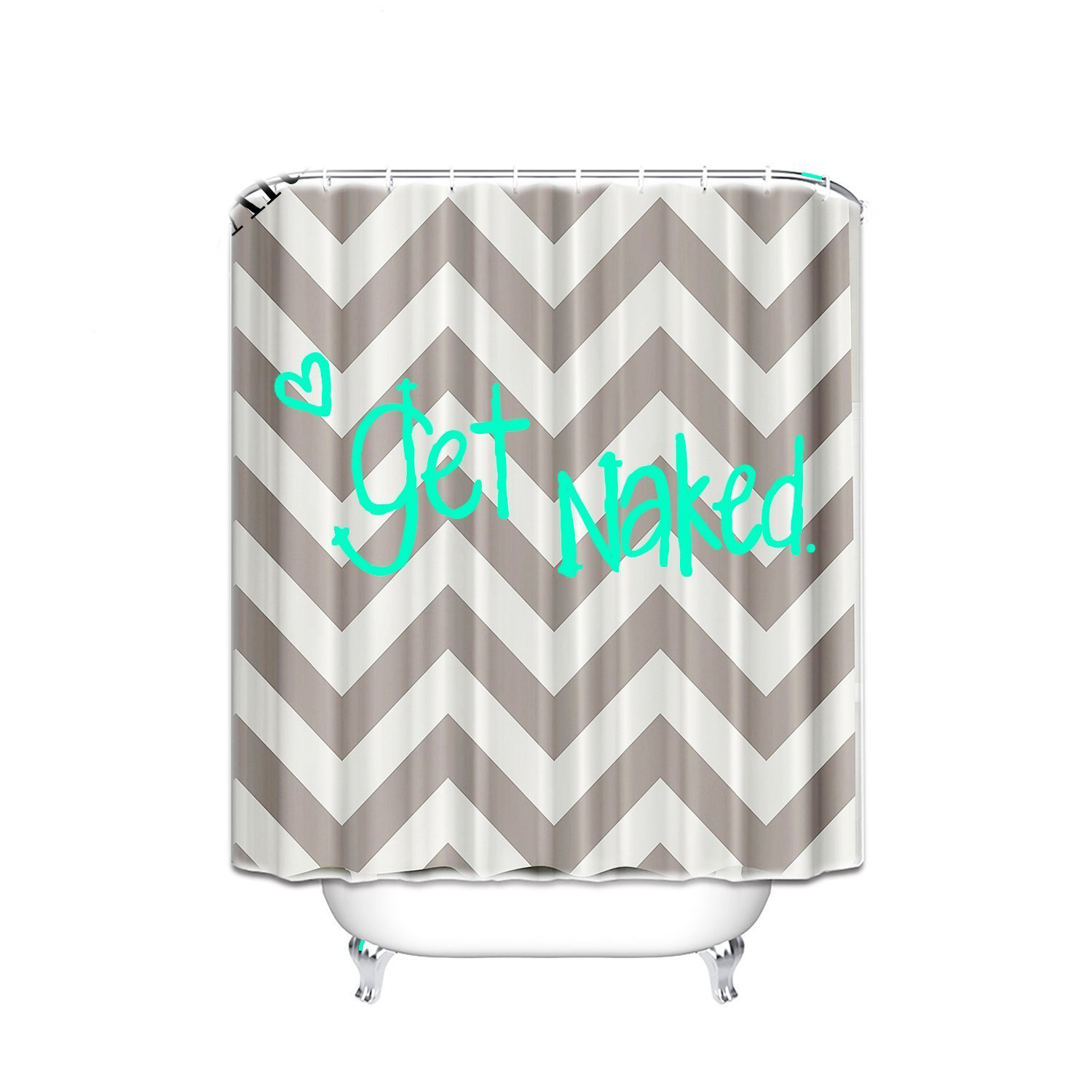 Funny Quotes Chevron Shower Curtain For Bathroom 66 X 72 Get Naked Heart Design Home Accessories Waterproof