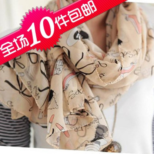 Min Order $15 Free shipping Long design quality velvet chiffon scarf skin leugth silk scarf lipstick HJ543