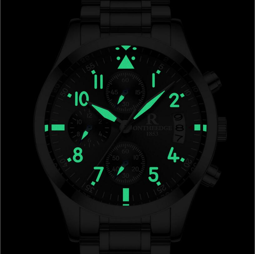 reloj hombre Mens Watches Top Brand Luxury ONTHEEDG Men Military Sport Luminous Waterproof Wristwatch Chronograph Quartz Watch mens watches top famous brand wwoor luxury male quartz watch leather strap waterproof men wristwatch clock reloj hombre