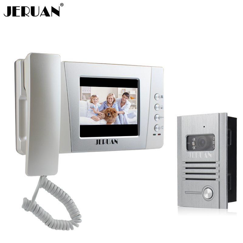 JERUAN 4.3 inch TFT Color Video Door Phone Bell Intercom System 1 monitor Metal Night Vision Camera FREE SHIPPING tmezon 4 inch tft color monitor 1200tvl camera video door phone intercom security speaker system waterproof ir night vision 1v1