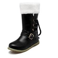 ผู้หญิงฤดูหนาวลูกไม้ขึ้นขนแบนหิมะกลางน่องรองเท้าบู๊ทส์ผู้หญิงแฟลตขนาดบวกttb