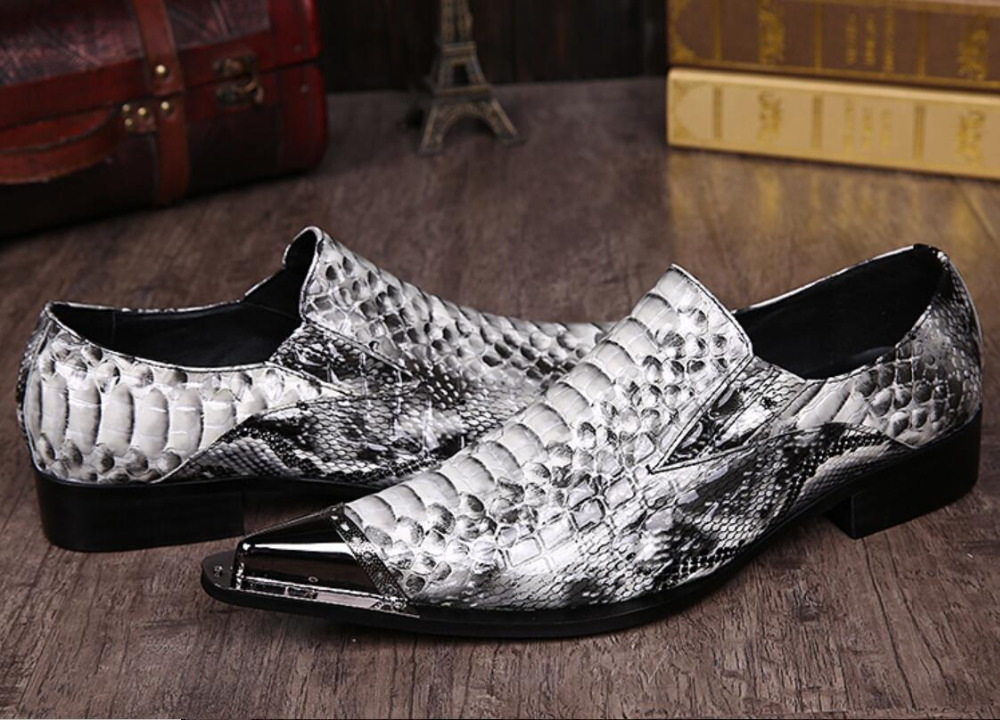 Italian genuine leather pointed toe metal tip gray python handmade men leather dress shoes fashion hairdresser