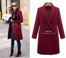 2016 Hot Designer Winter Autumn Women Wool & Blends Coat Plus Size Maxi 5XL Coats & Jackets Warm Double Breasted Outwear Party