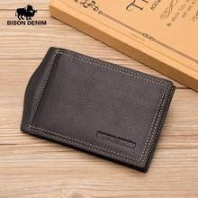 BISON DENIM Cow Leather Wallet Men Money Purse With Zipper C