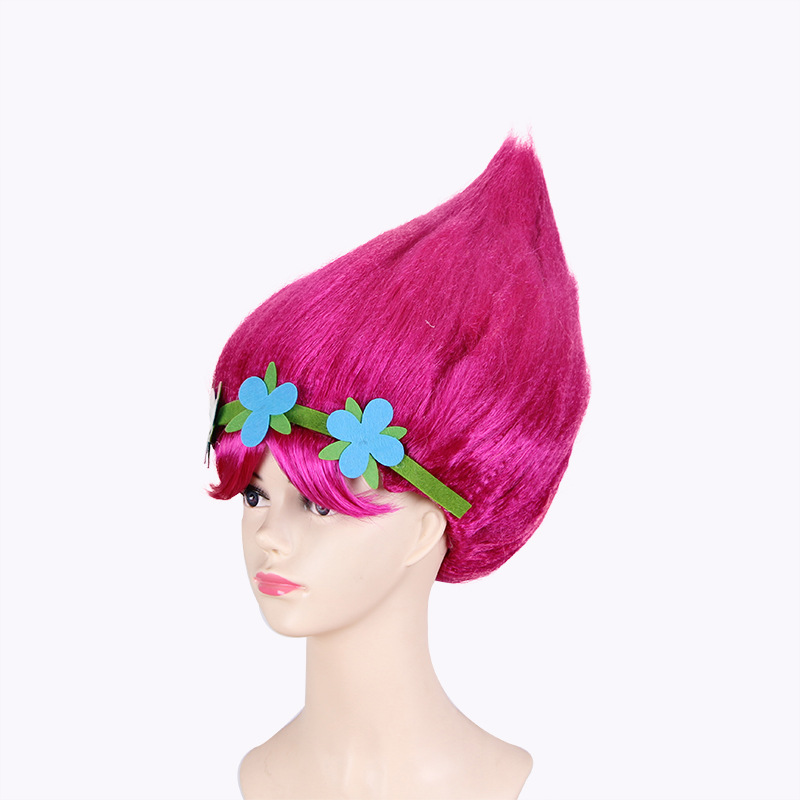Trolls Cosplay Kids Hairs Hat with Hairband Trolls Headpiece Cap Headwear Cosplay Accessary for Party Show