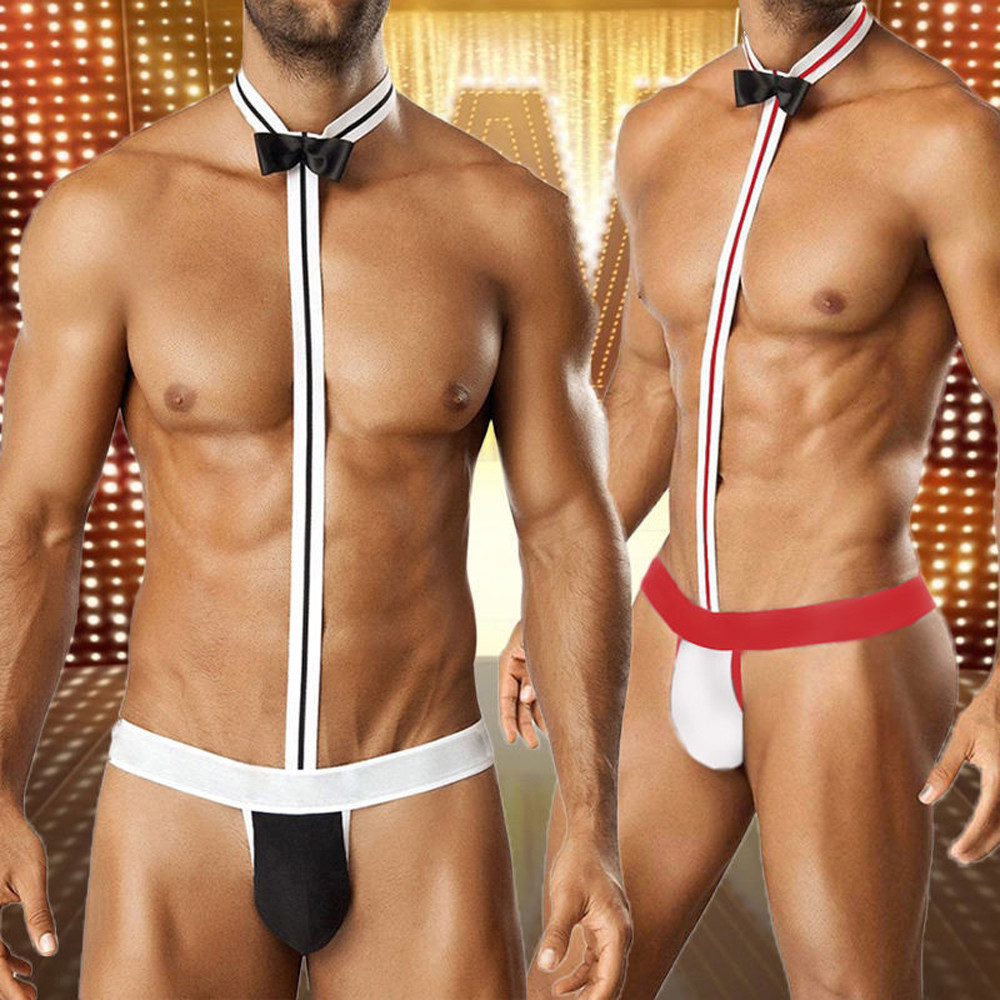 Hot Novelty Sexy Men Mankini Thong Underwear Waiter Costume Bodysuit Lingerie Briefs Underpants For Men Male Drop Shipping(China)