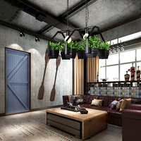 Home Pendant Lights Iron Lighting Lamps Black lustres para sala de jantar with plant luminaria pendente Dining Room 85 260V D356