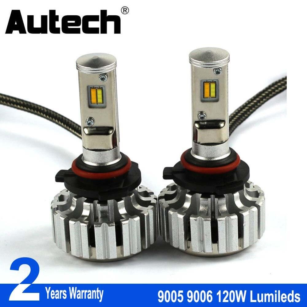 Autech 2 Pieces Led Lights 9005 HB3 9006 HB4 Car LED Headlight Auto fog Lamp 120W 12000LM Automobile Bulb Chips CSP 6500K White