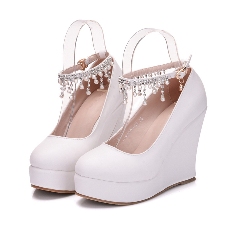 Handmade Women Pumps Extrem Sexy Wedges High Heels Women Female Wedding Shoes White Ladies Ankle Strap Shoes XY A0074 in Women 39 s Pumps from Shoes