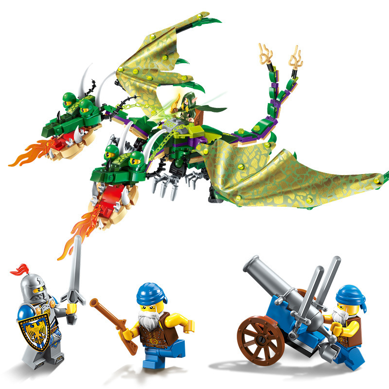 ENLIGHTEN The War Of Glory Castle Knights Twin-headed Dragon Building Blocks Set Bricks Model Kids Toys Gift Compatible Legoings dr tong single sale the lord of the rings medieval castle knights rome knights skeleton horses building bricks blocks toys gifts