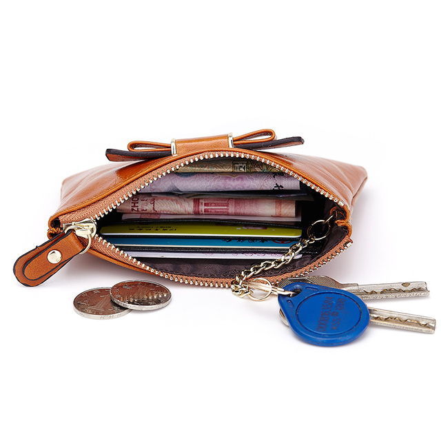New Arrival 100% Genuine Leather Bow Style Slim Coin Purse Retro Zippered Pocket 4 Color On Sale