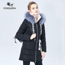 Foxqueen 2017 Новый женские Зимние Толщиной Хлопок Моды Пальто И Пиджаки Пальто Средней Длины С Капюшоном Меховой Воротник Бесплатная Доставка