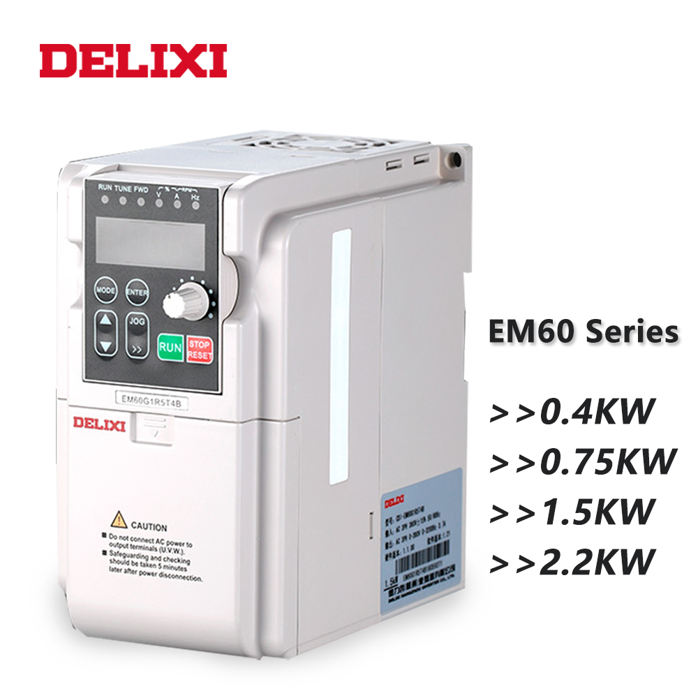 DELIXI AC 220V 0.4KW/0.75KW/1.5KW/2.2KW single phase VFD inverter drives for motor Speed Control 50/60HZ DC frequency converter-in Inverters & Converters from Home Improvement