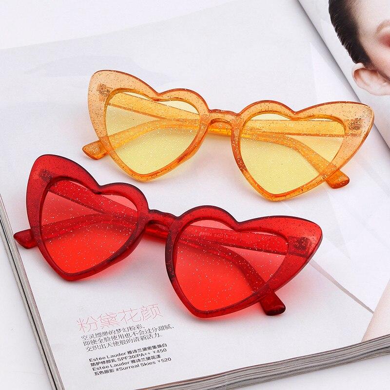 2018 Liebe Herz Sonnenbrille Frauen Nette Sexy Retro Cat Eye Sonnenbrille Vintage 90 S Brille Rosa Rot Glitter Linsen Brillen Weiblich Die Nieren NäHren Und Rheuma Lindern