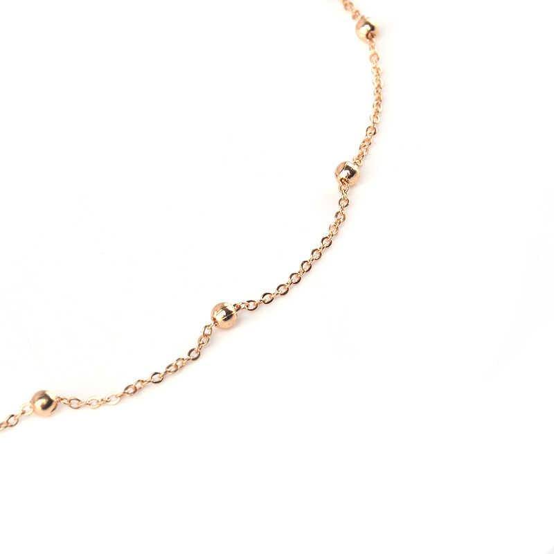 トレンディリンクチェーン woth 合金ビーズチョーカーネックレスライトイエローゴールド色ファインネックレス女性ジュエリー