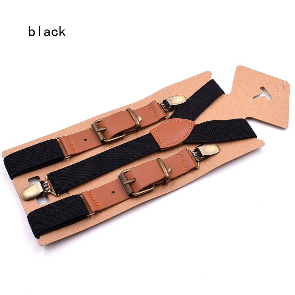 Boy Kids Infant Black Brown Elastic Faux Leather Suspenders Braces 1-8 Years Old