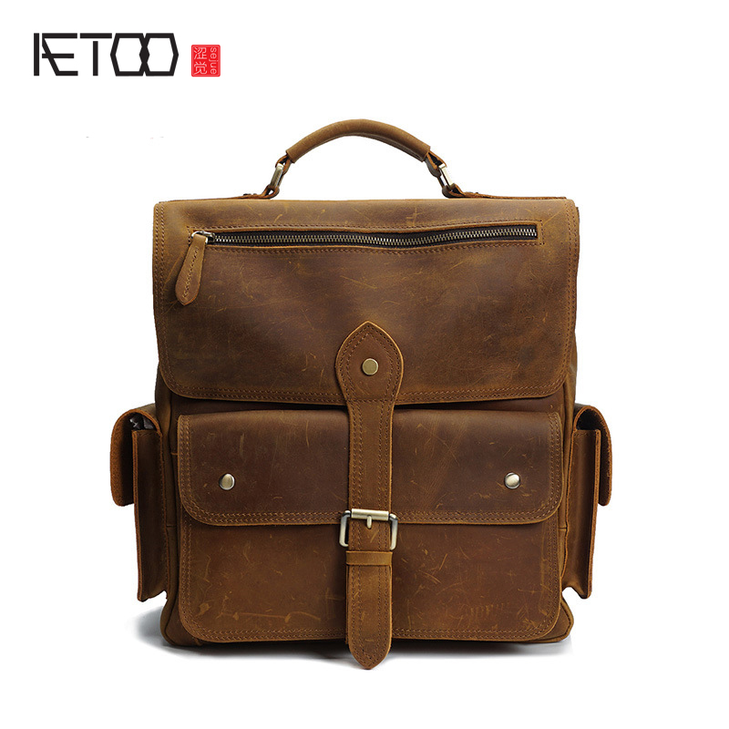 AETOO Mad horse leather fashion backpacks leather shoulder bag hand retro large capacity fashion first layer of leather men bag aetoo leather shopping bags handbags large bag first layer of leather ladies shoulder bag fashion casual tote bag hit color hand