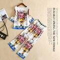 Alta Qualidade Runway Suit Set Conjuntos de Primavera Verão das Mulheres Novas 2 Peça Vintage Totem T-shirt de Impressão Tops + Calça Casual conjunto