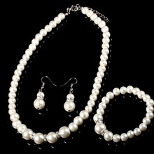 Simulated Pearl Wedding Bridal Jewelry Sets Classic High Quality Crystal Charm Gift Silver Plated Necklace Bracelet Ring Set(China)