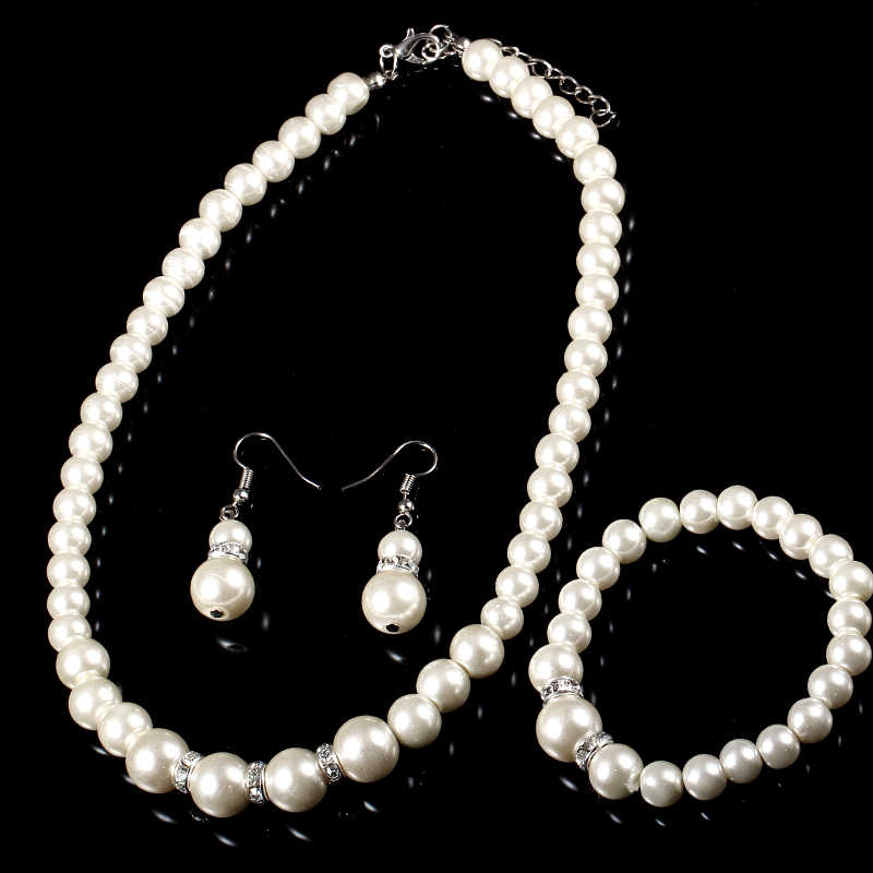 Simulated Pearl Wedding Bridal Jewelry Sets Classic High Quality Crystal Charm Gift Silver Plated Necklace Bracelet Ring Set