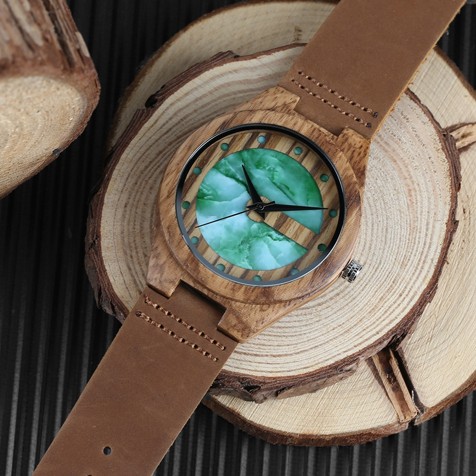 Unique Letter C Shape Luxury Green Marble Dial Men's Watch Genuine Leather Wooden Watches Quartz Watches Men Relogio Masculino Gifts (11)